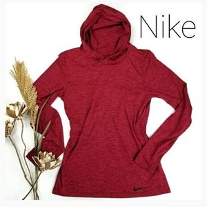 NEW Nike Red Cowl Neck Hooded Running Shirt XS